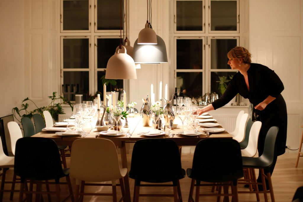 Woman setting a holiday table